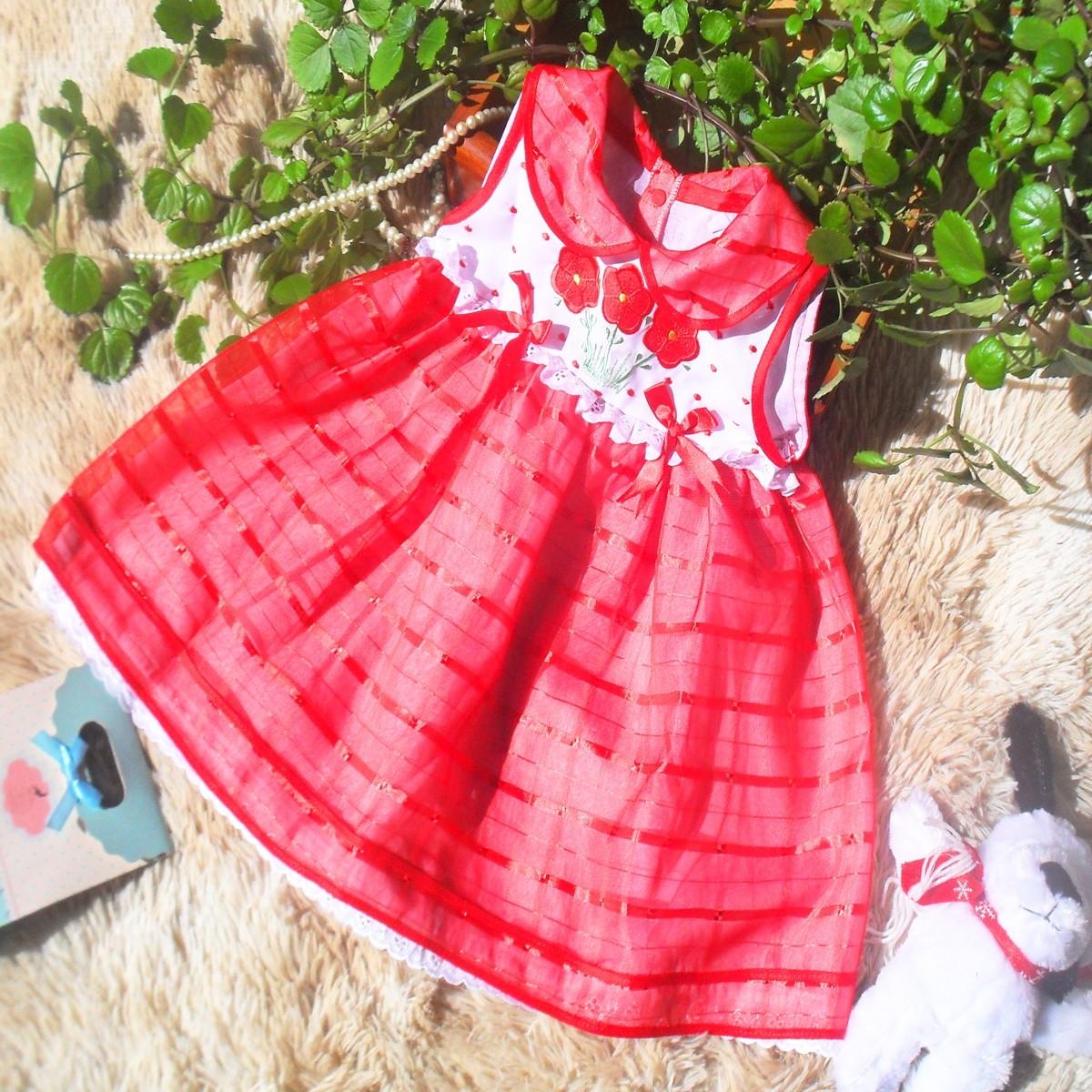 cd2bf26165 Vestido Infantil Festa Vermelho Bordado no Elo7