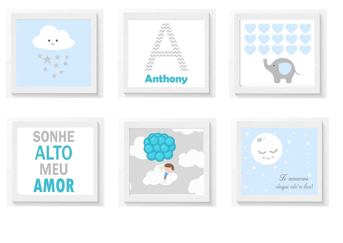 Conjunto Quadrinhos Quarto Bebe Menino Sonhe Alto Azul Maria  ~ Quarto De Bebe Cores E Quadrinhos Quarto Bebe