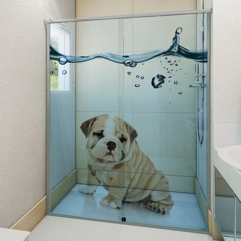 Armario Pequeno Para Banheiro ~ Adesivo Para Box De Banheiro 3D Dog 6Formas Adesivos Decorativos Elo7