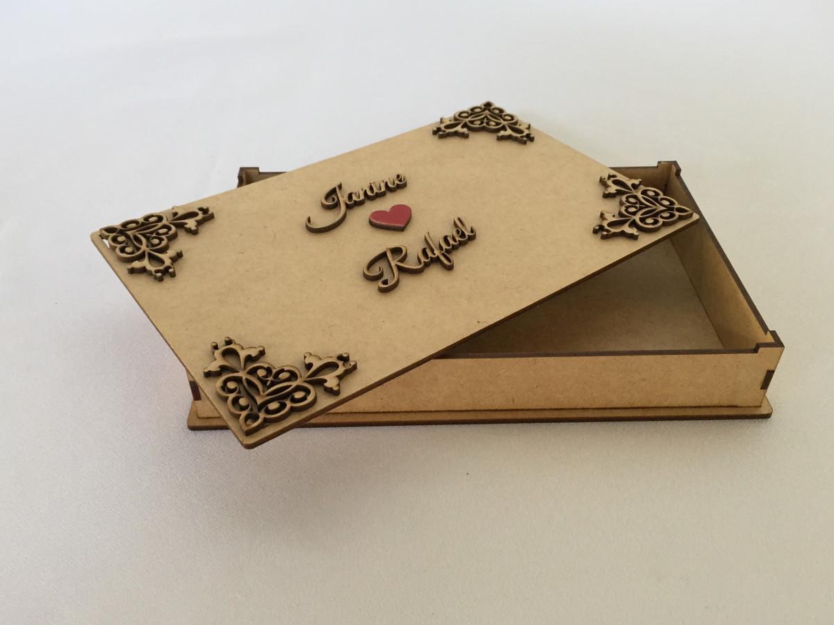 Caixa Mdf Convite Padrinhos De Casamento 24x15x3cm No Elo7