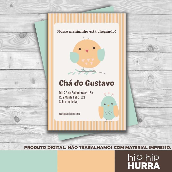 Convite Chá De Bebê Passarinho No Elo7 Hip Hip Hurra 9b00cc
