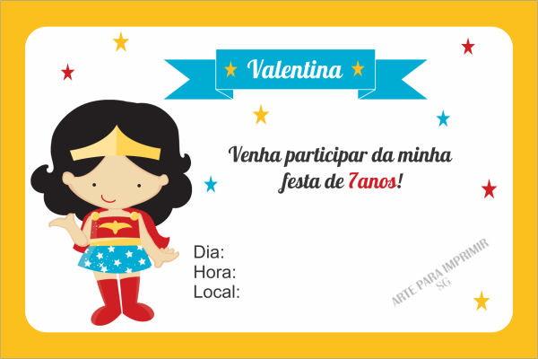 Convite Mulher Maravilha No Elo7 Arte Digital Sg 9b3a17