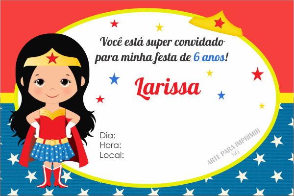 Convite Mulher Maravilha No Elo7 Arte Digital Sg 9b3a23
