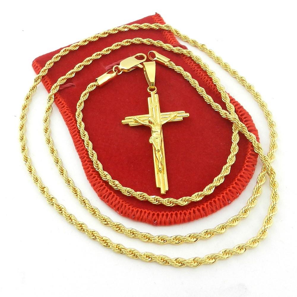 88a6b29338fab Corrente Masculina 60cm 3mm Cruz Cristo Folheado Ouro CR750 no Elo7 ...