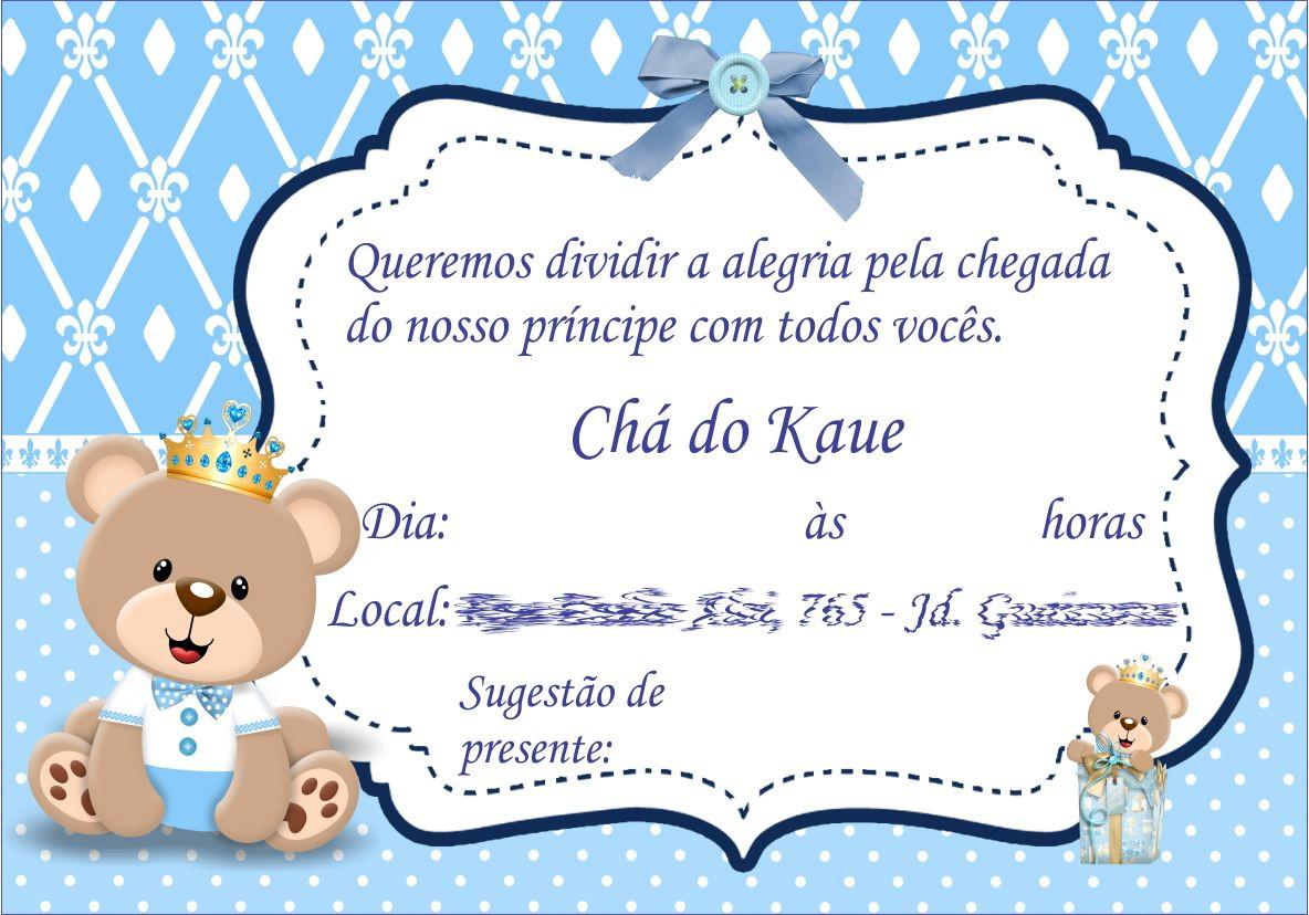 Convite Chá De Bebê Ursinho Príncipe No Elo7 Arte Criativa Design