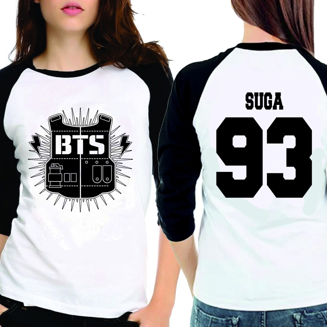 ae742a3eb8857 Camiseta Bangtan Boys Bts Suga 93 3 4 no Elo7