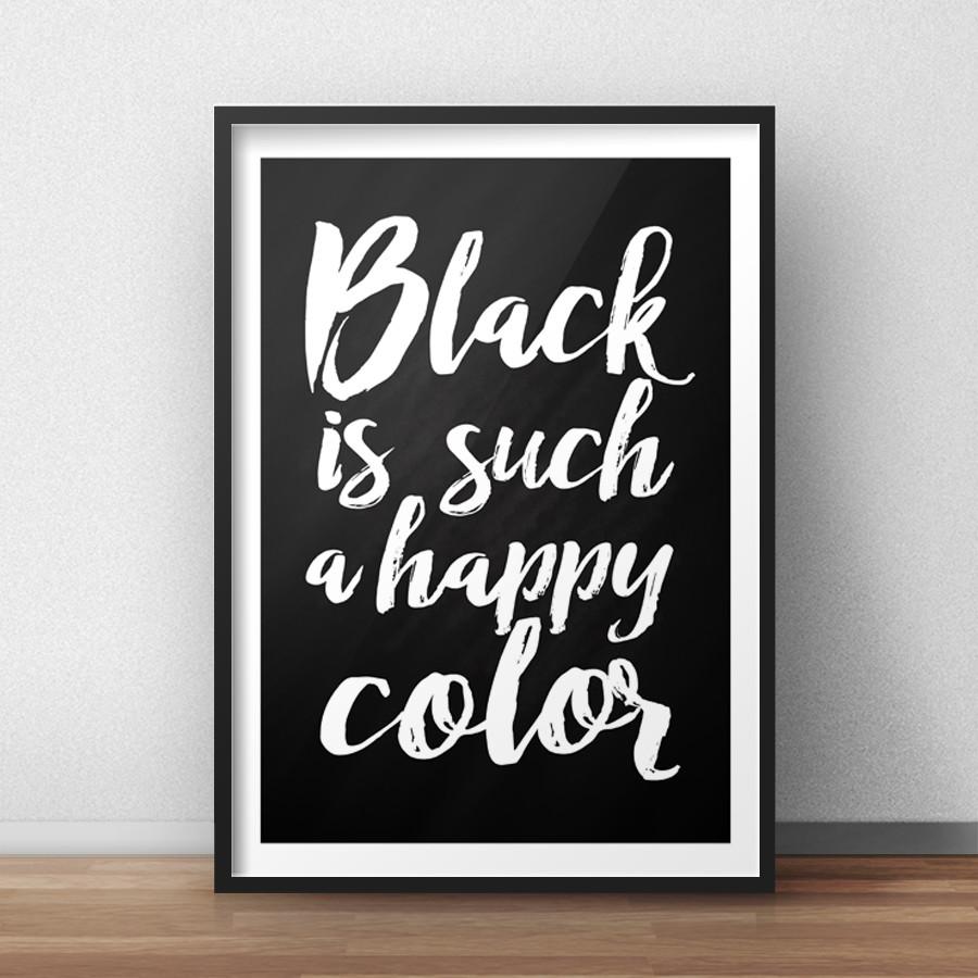 dd48e8fc384 Quadro Black is Such a Happy Color Frase Decoração no Elo7 | Red ...