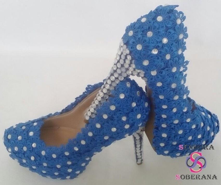 d653365850 Sapato Meia Pata Florado azul Noivas no Elo7