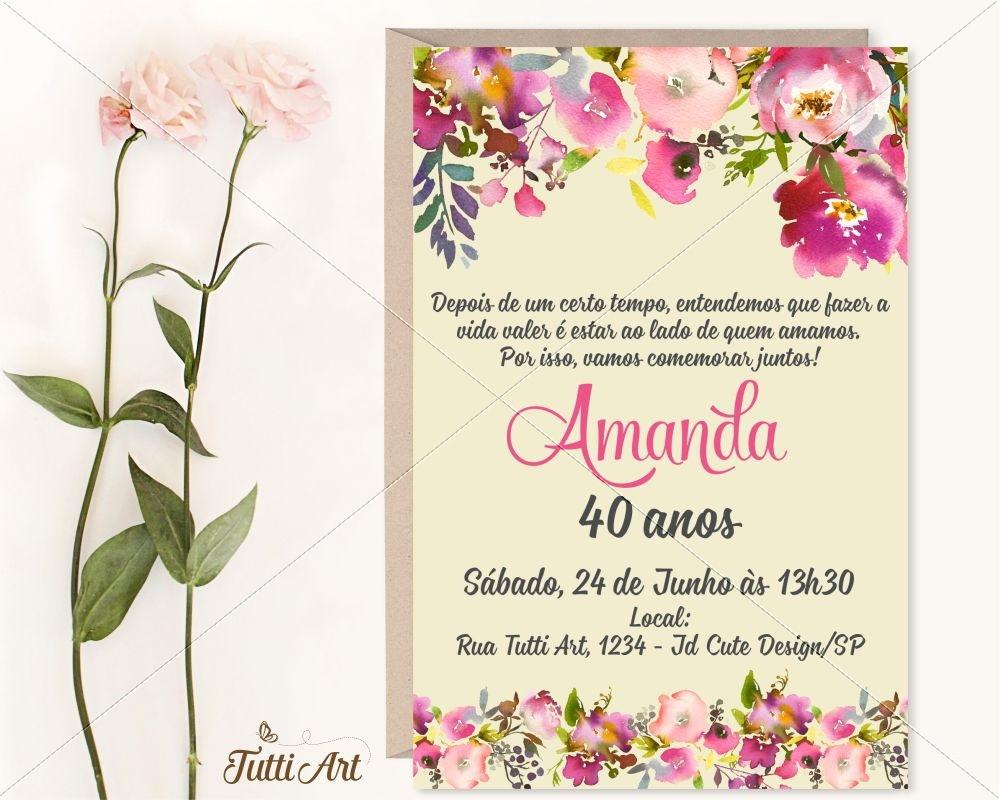 Quero Montar Meu Convite De 50 Anos: Convite 30 40 50 60 70 80 Anos - Digital