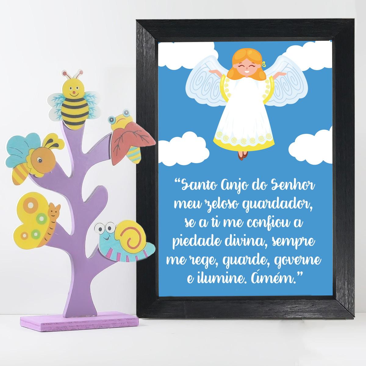 Quadro Santo Anjo e Nuvens Infantil 22x32cm Moldura Preta no Elo7 ... af3ff3b252428