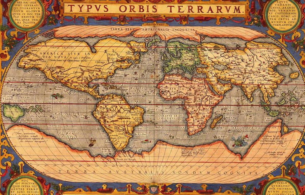 mapa mundo antigo Quadro Antigo Mapa Mundi 43x28cm no Elo7 | DeNucci Artesanato (9C900D) mapa mundo antigo