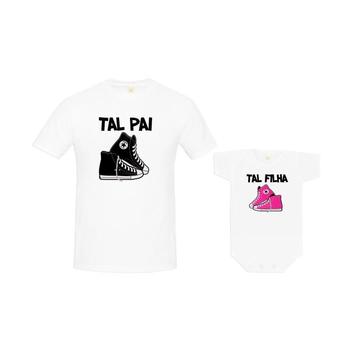 c4099cd61efb6e Kit Camiseta Tal Pai Tal Filha Tênis