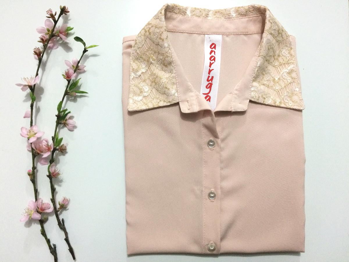 1f0a2799b Camisa feminina detalhe em renda tam P no Elo7