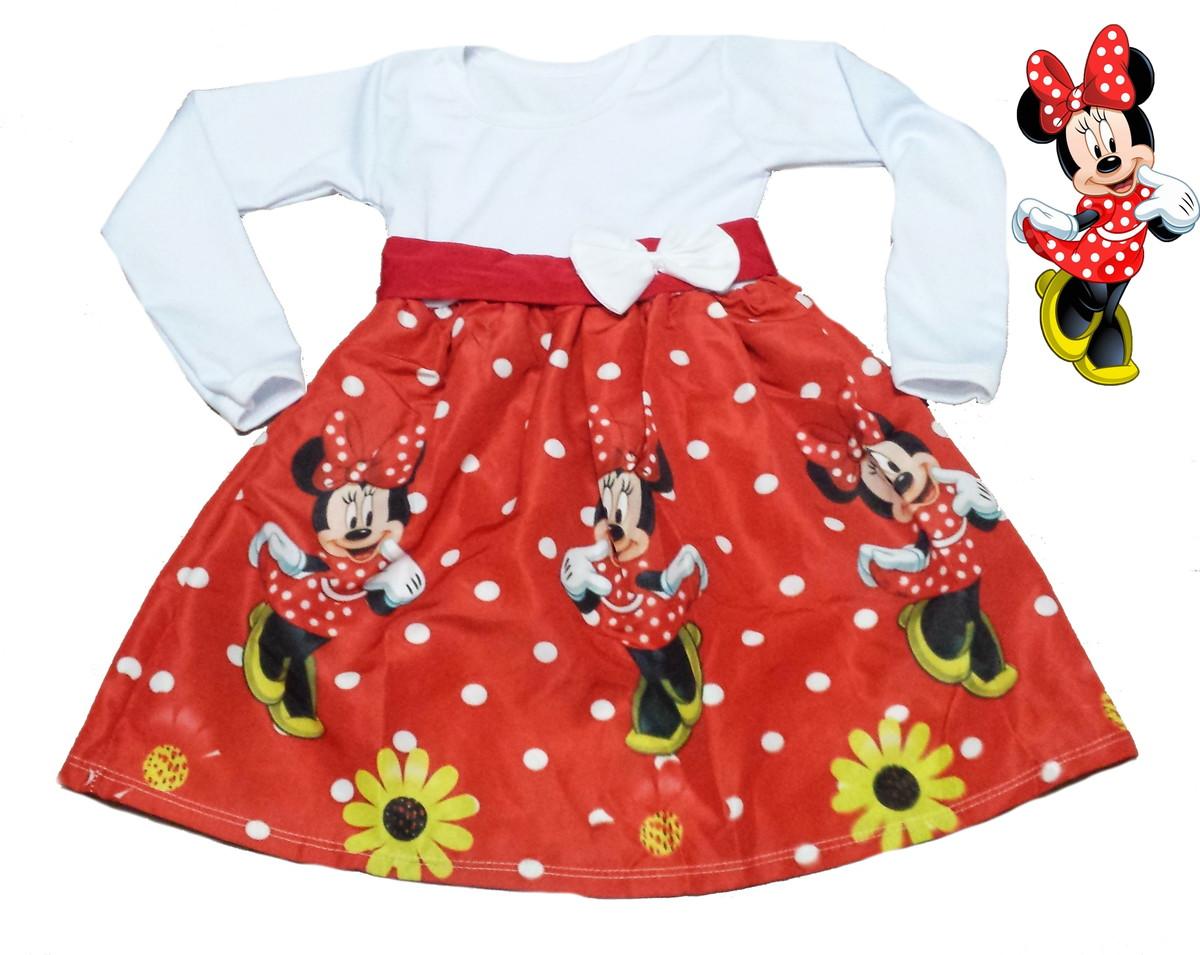 4a36e5541 Minnie vermelha Vestido Manga longa no Elo7 | Borboletinhas Kids ...