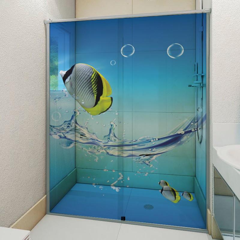 Armario Pequeno Para Banheiro ~ ADESIVO BOX DE BANHEIRO FUNDO DO MAR 6Formas Adesivos Decorativos Elo7