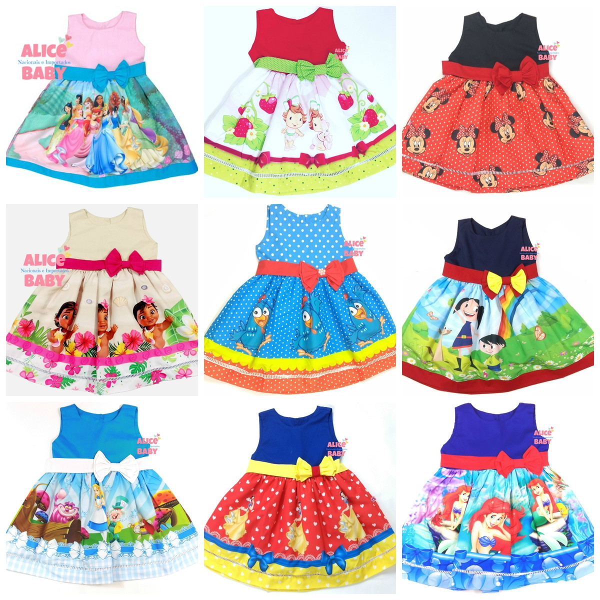 84a61a4b3 Vestido Temático - mais de 50 TEMAS no Elo7   Alice Baby Virtual ...