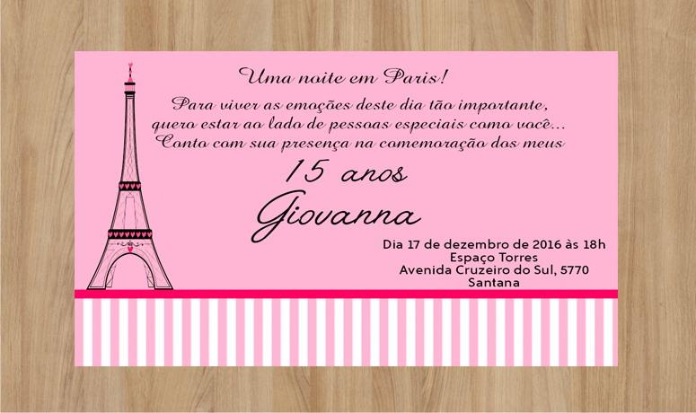 Convite De Aniversario De 15 Anos: Convite 15 Anos 10x7cm No Elo7