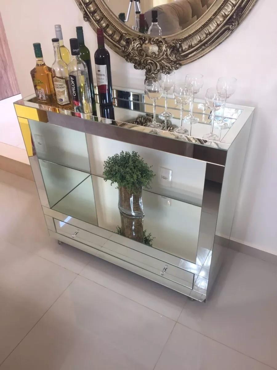 Adesivo Mesa De Jantar ~ Aparador Bar Espelho Lapidado c gavetas Amplo Espaço Elo7