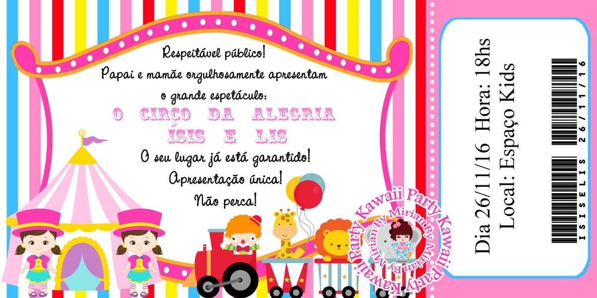 Convite Digital Ingresso Circo Rosa No Elo7 Kawaii Party 9dd26f