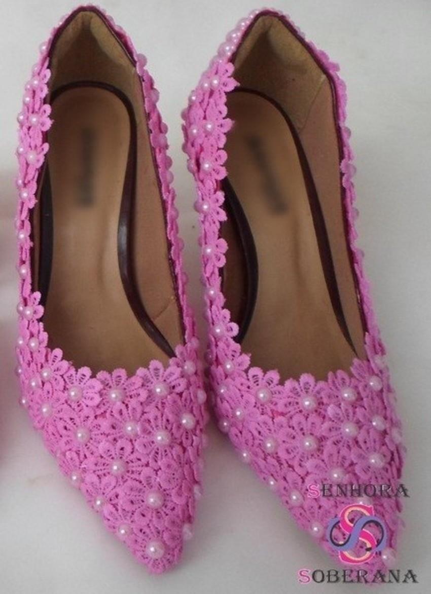 b3f8746d4b Salto Rosa Pink florado Casamento noivas no Elo7
