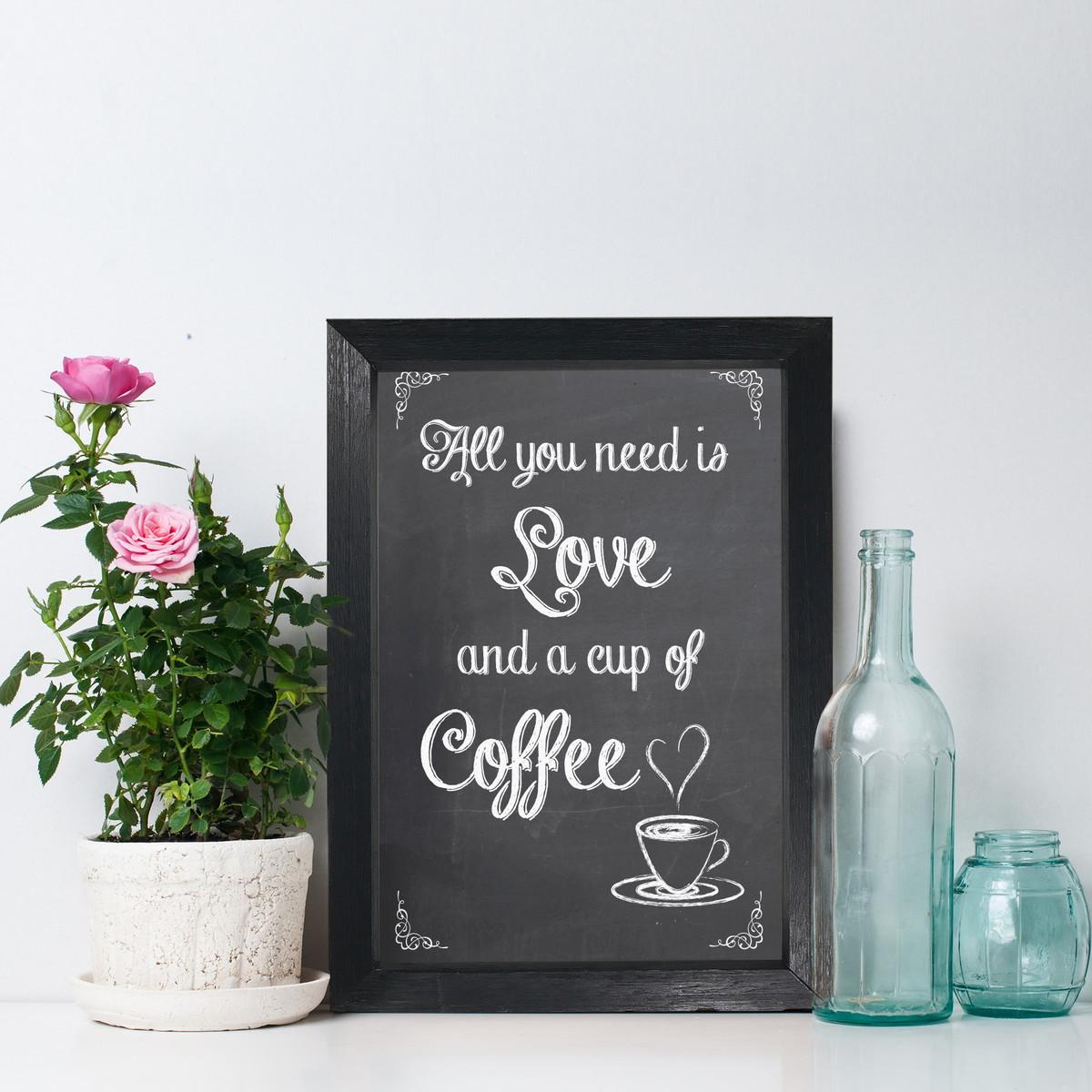 Quadro Para Cozinha Cafe Frase Amor Moldura Preta 22x32 Cm No Elo7