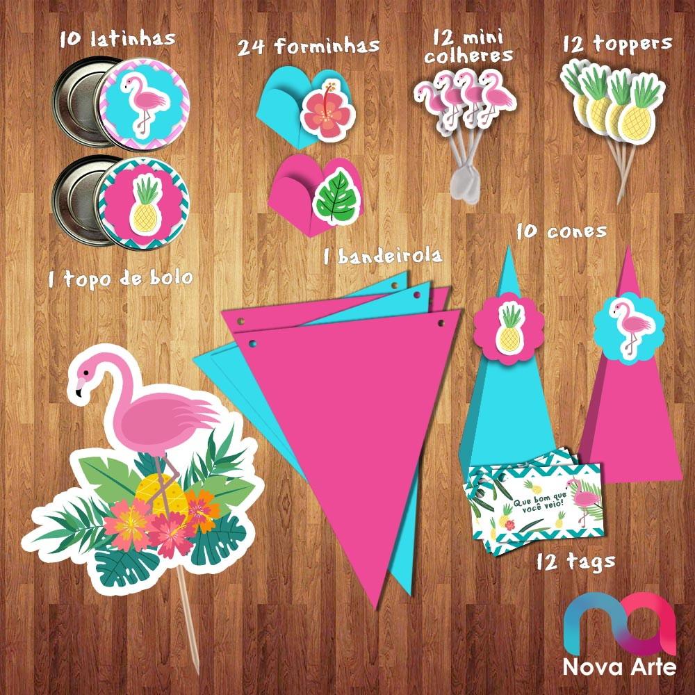 Kit Festa Flamingo Azul Frete Gratis No Elo7 Nova Arte Papelaria