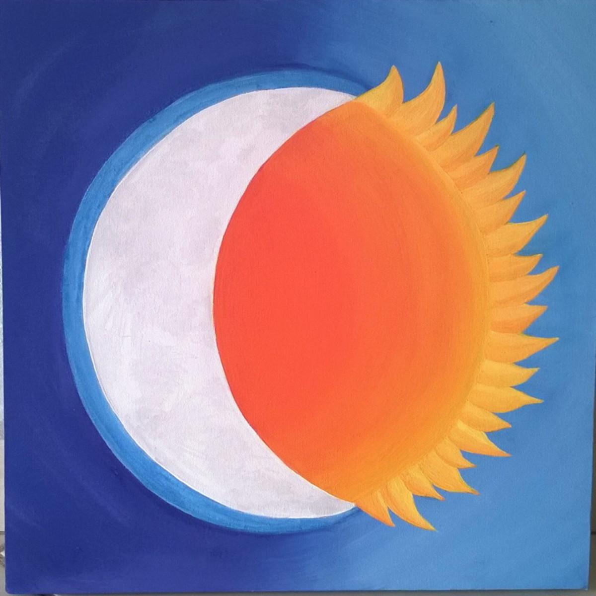 Tela Quadro Sol E Lua Pintura No Elo7 Dany Maos Arteiras 9e8233