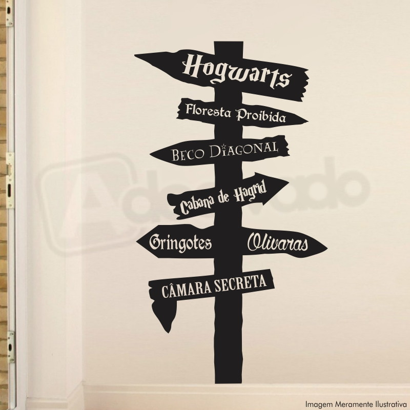 Aparador Estreito Branco ~ Adesivo Decorativo Parede Harry Potter Iglu Elo7