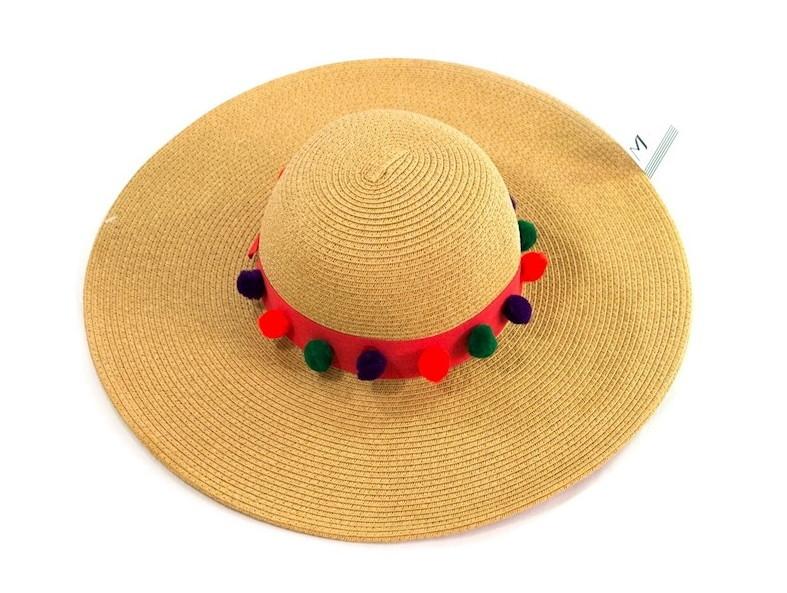 1c98b95a97 Chapéu de Palha feminino praia com pompons coloridos no Elo7 ...