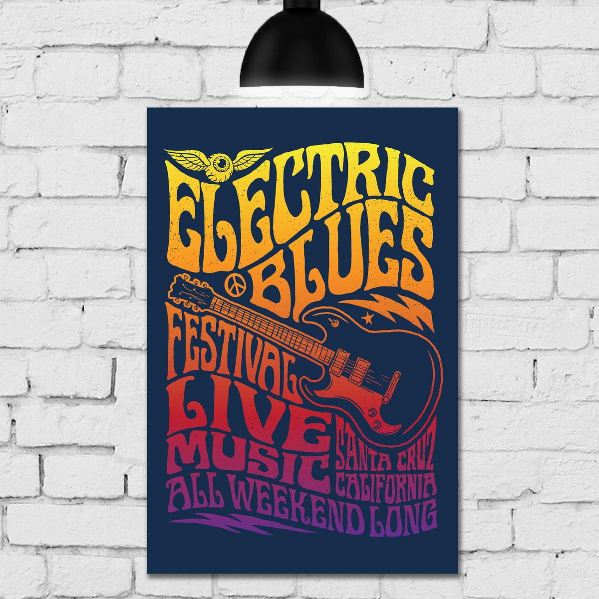 Placa Decorativa Vintage Música 20x30 Blues Rock