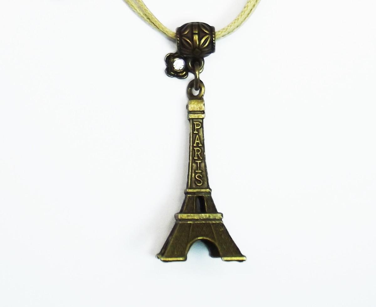 5c4a2435ca9 Pingente Torre Eiffel e Flor com Strass no Elo7