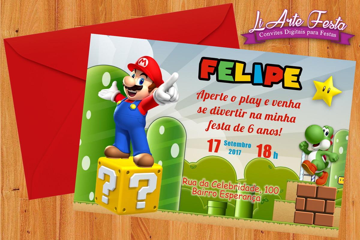 convite super mário arte digital lacre envelope grátis no elo7