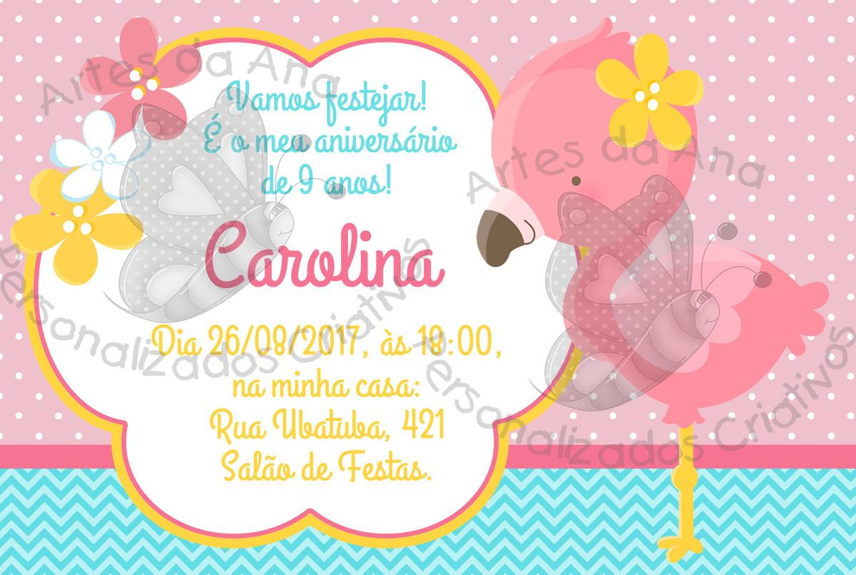 Convite Flamingo No Elo7 Artes Da Ana Personalizados Criativos