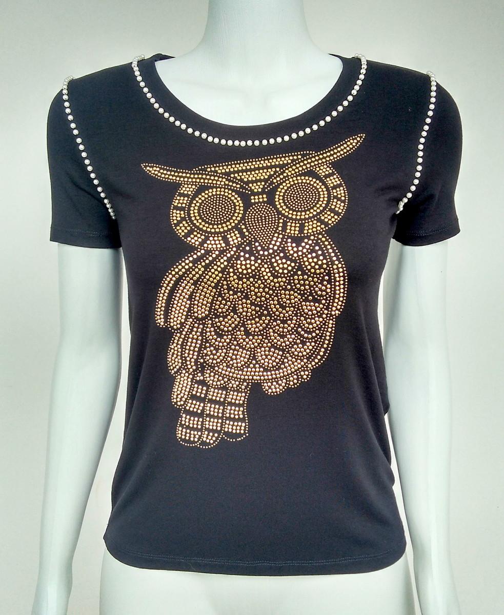 8e7e650e7490 Blusa camiseta bordada pedraria coruja