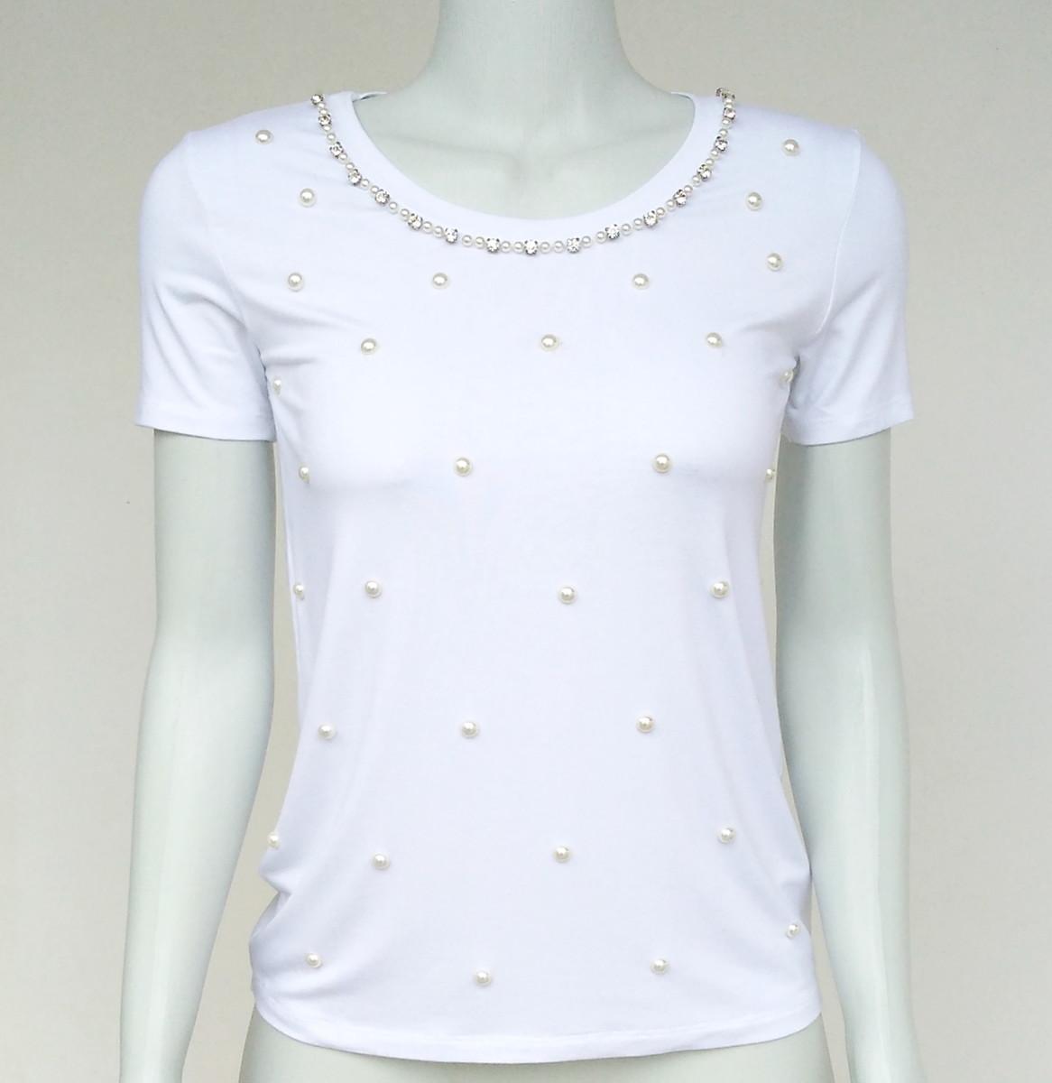 903579862724 Camiseta blusa bordada em pérolas VB30