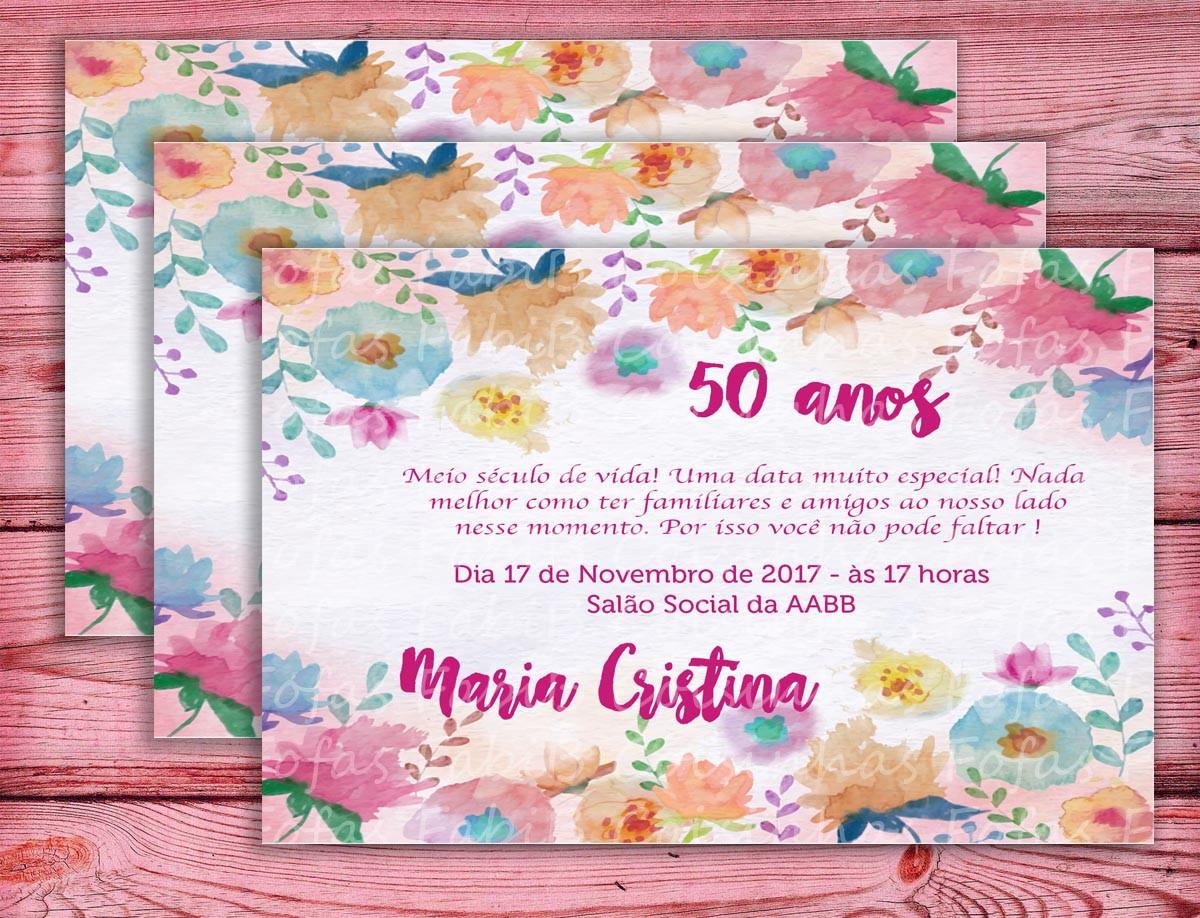 Quero Montar Meu Convite De 50 Anos: Convite Aniversário De 50 Anos No Elo7