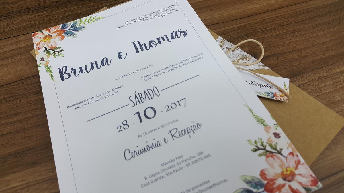 Convite Casamento Kraft Renda Floral No Elo7 Convite De Casamento