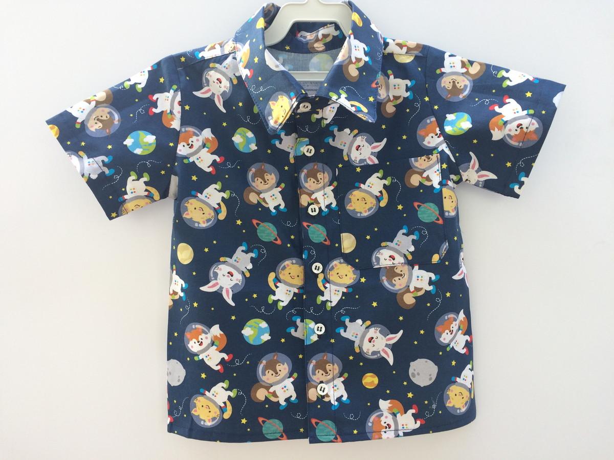 f711c25b2a Camisa estampa bichinhos no espaço no Elo7