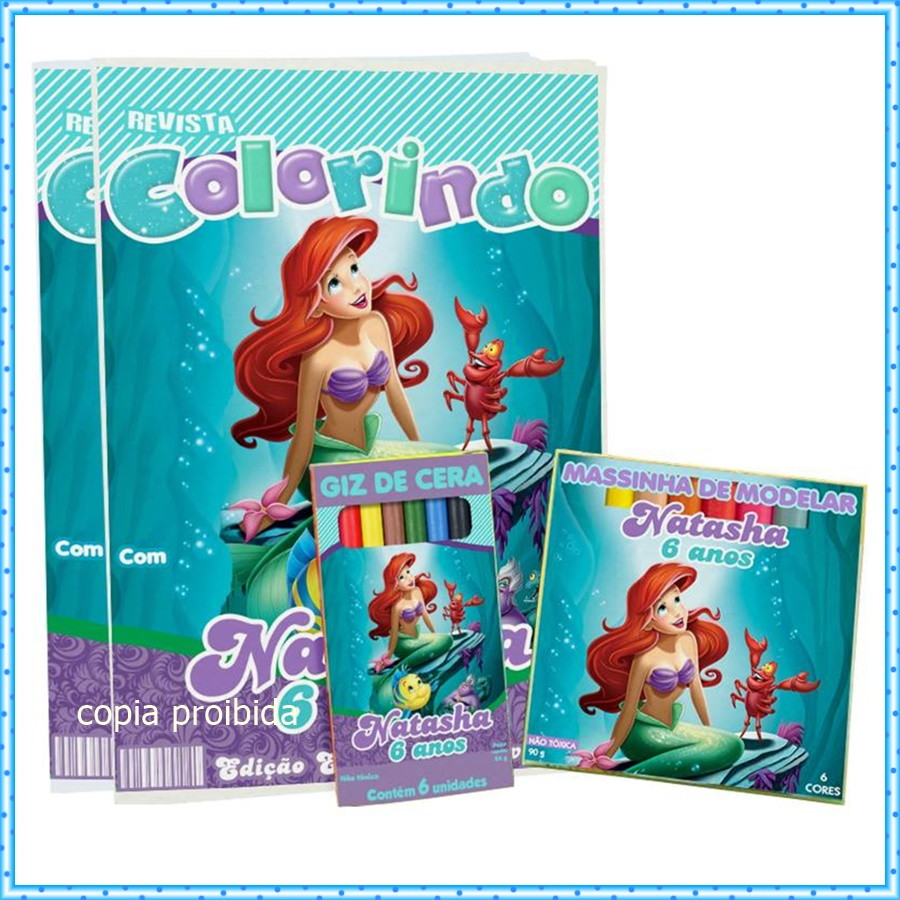 Kit Colorir Princesa Ariel Com Massinha No Elo7 Samba Lele A0d19c
