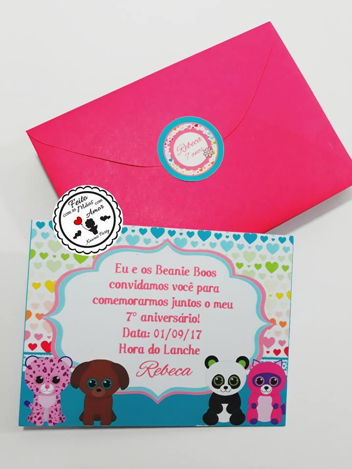 Convite Beanie Boo No Elo7 Kawaii Party A16393