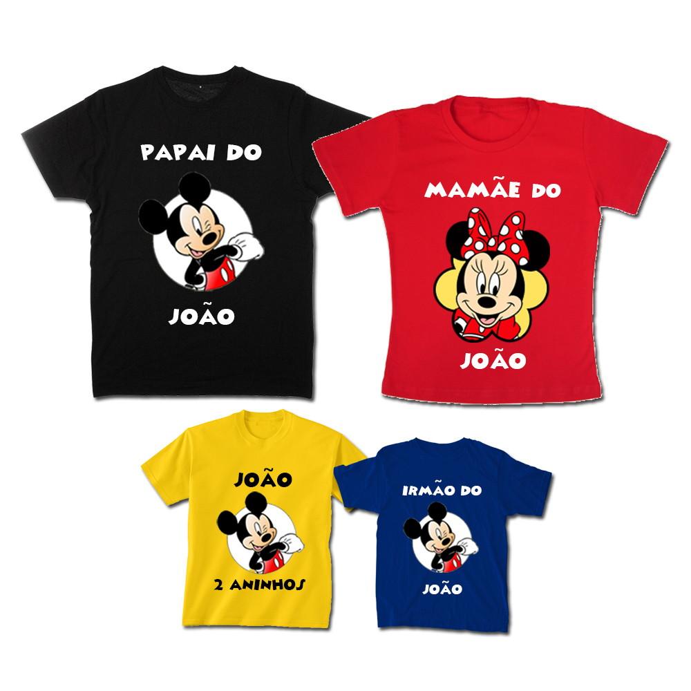 afca37d35319 Kit Família Mickey Color com 4 camisetas no Elo7   Espaço QK (A188A8)