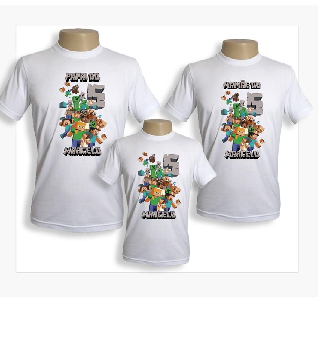 kit aniversario 3 camisetas Minecraft no Elo7  ca302c97f16