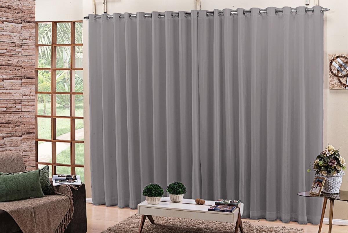cortinas para quarto com blackout e voil cinza