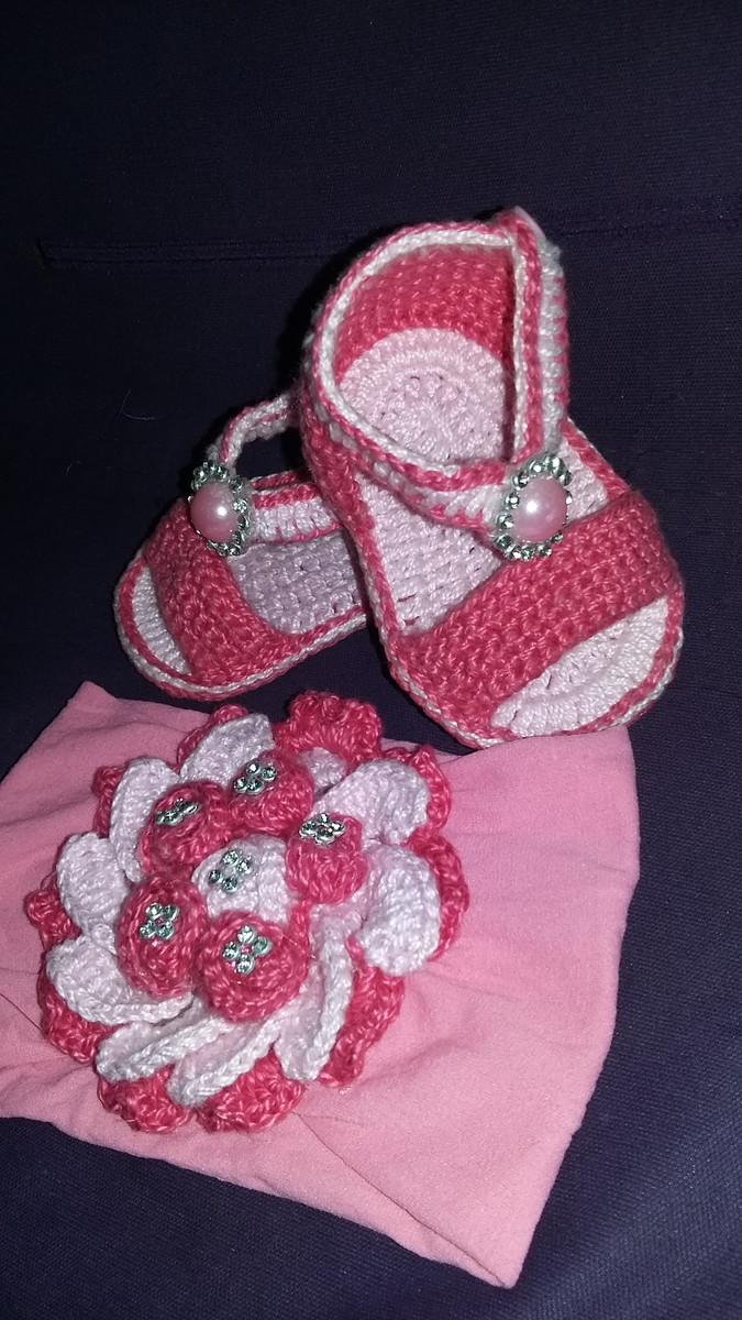 51b1e8075c kit de sandalia e faixa em crochê no Elo7