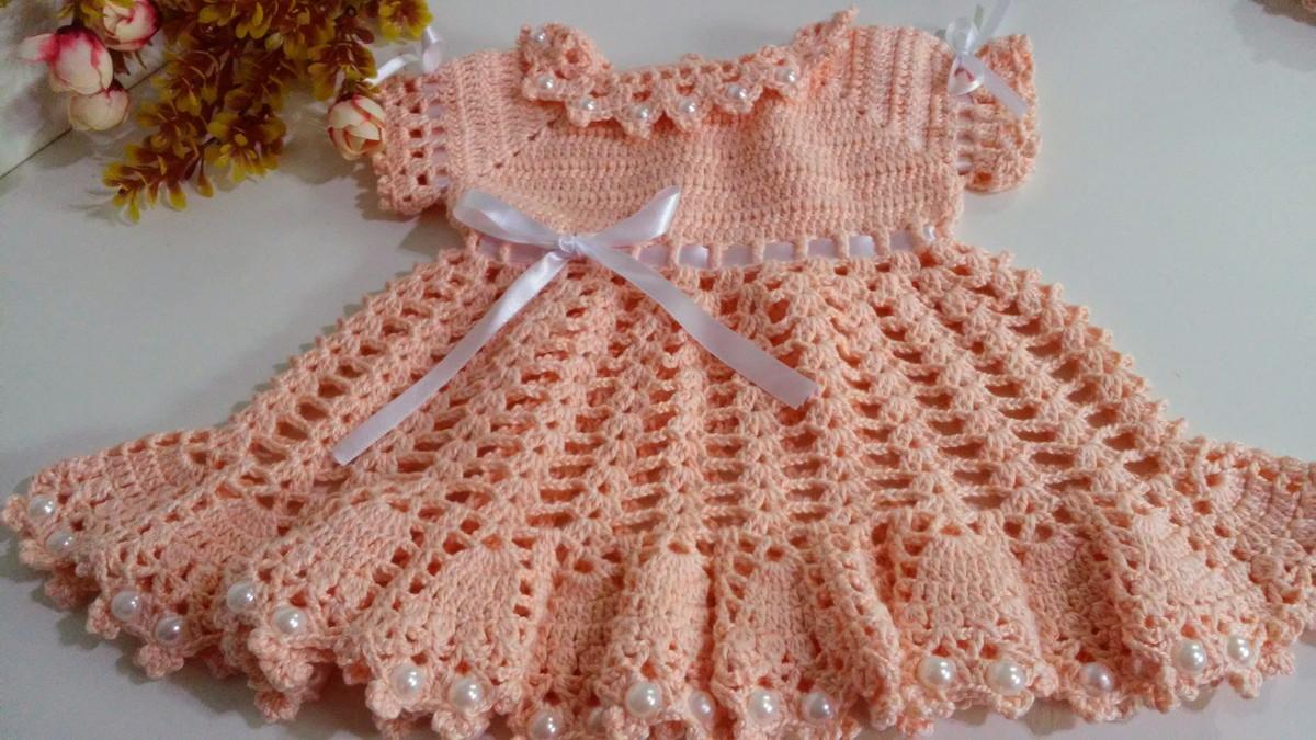 91b49412b325 Vestidinho de crochê 1 a 3 meses no Elo7   Mãos em Arte - Croche da ...