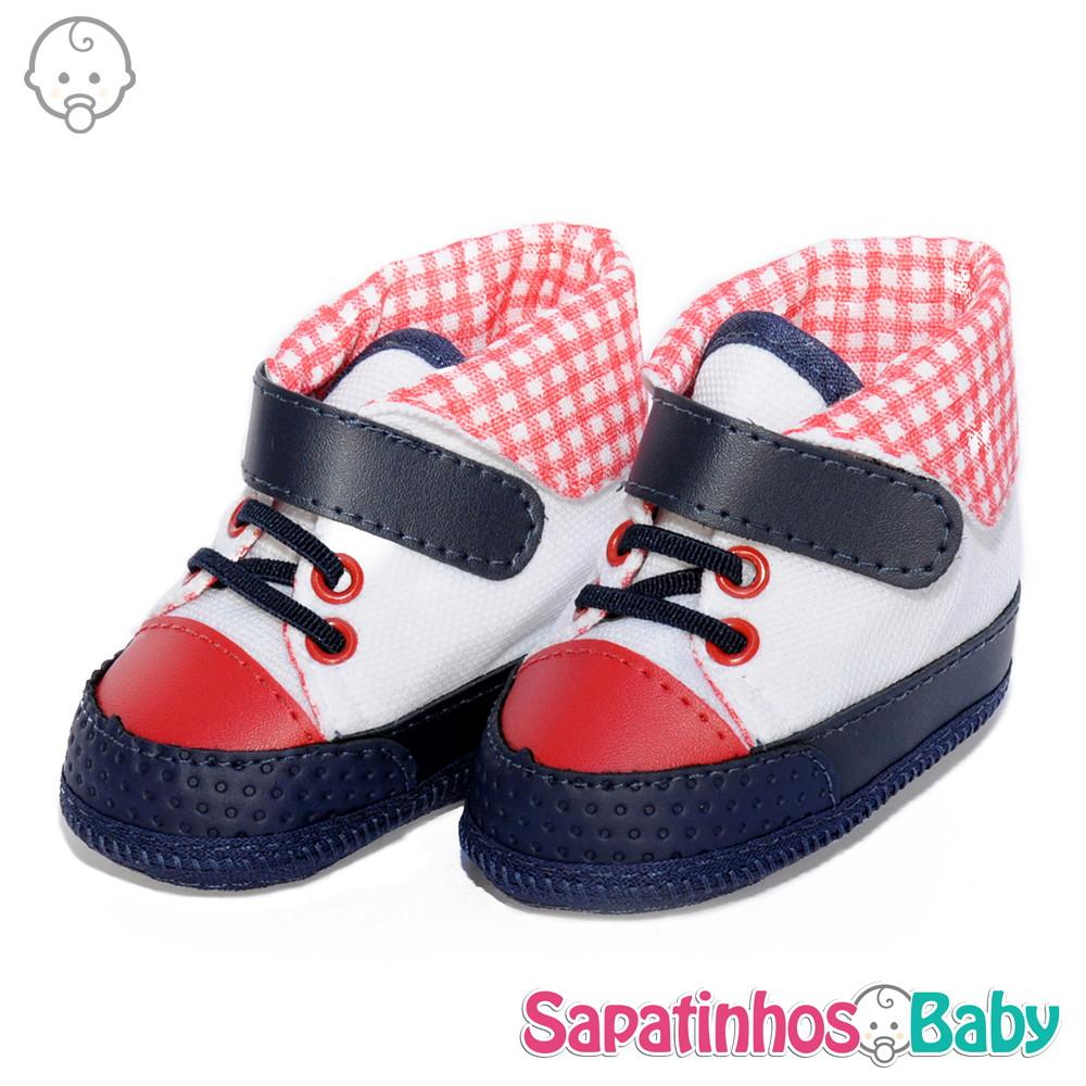 e5f89ff5f Tênis Alto Branco/Verm/Azul-Ref.MTE0038 no Elo7 | Sapatinhos Baby ...