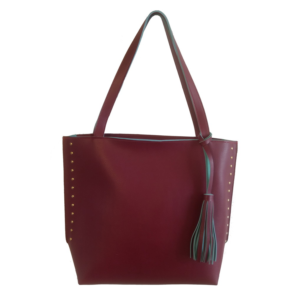 fefc81954 Bolsa feminina grande sacola saco bordô com azul tiffany no Elo7 ...
