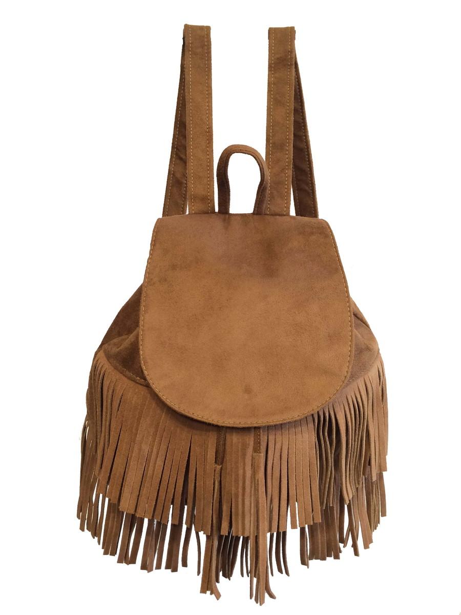 ba1135b08 Bolsa mochila feminina com franjas cor caramelo cabe caderno no Elo7 ...
