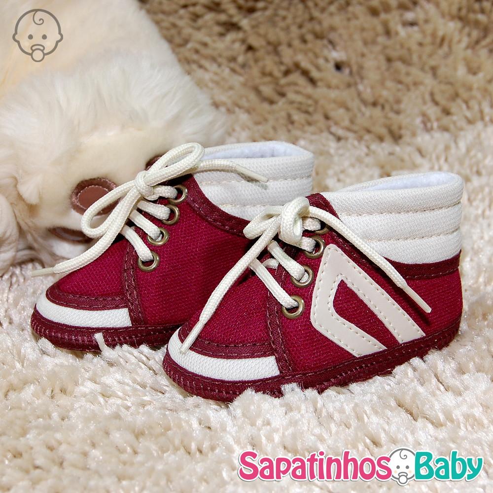 bbc9c0350 Tênis Alto Vinho/Bege - Ref.MTE0138 no Elo7 | Sapatinhos Baby (A2154A)