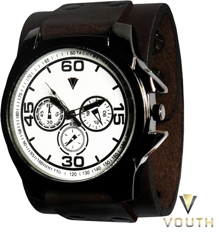 cd9f8d82a33 Relógio Com Bracelete De Couro Masculino no Elo7